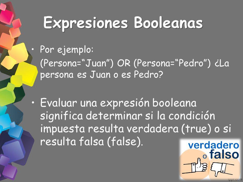 Expresiones Booleanas Por ejemplo: (Persona=Juan) OR (Persona=Pedro) ¿La persona es Juan o es Pedro? Evaluar una expresión booleana significa determin