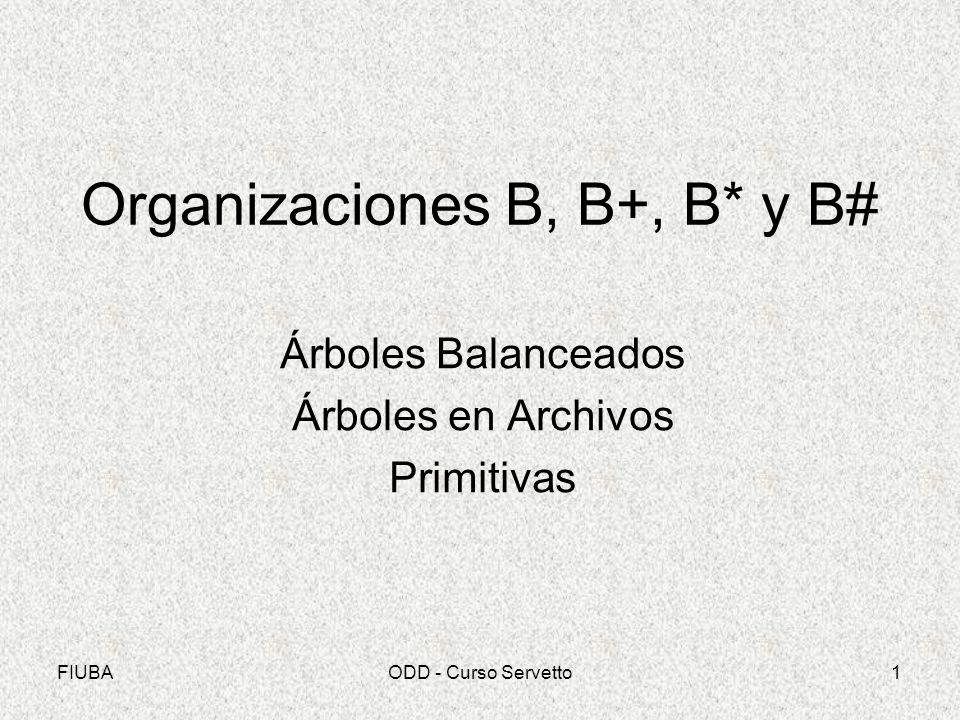 FIUBAODD - Curso Servetto1 Organizaciones B, B+, B* y B# Árboles Balanceados Árboles en Archivos Primitivas