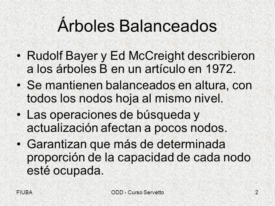 FIUBAODD - Curso Servetto2 Árboles Balanceados Rudolf Bayer y Ed McCreight describieron a los árboles B en un artículo en 1972.