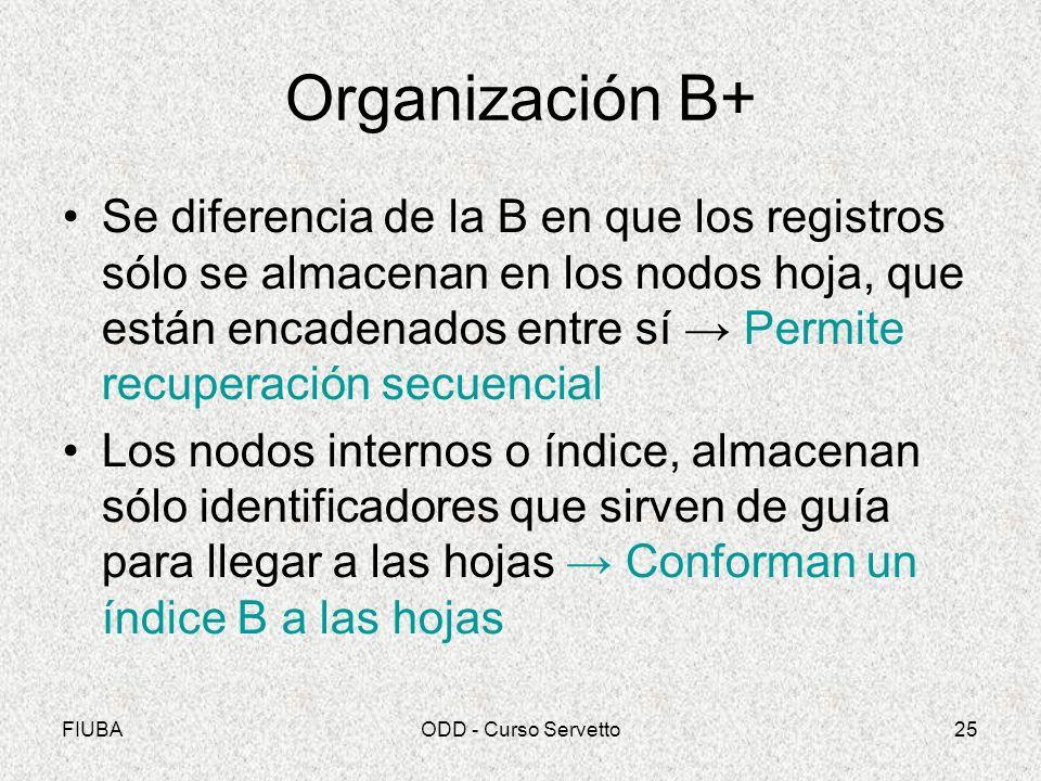 FIUBAODD - Curso Servetto25 Organización B+ Se diferencia de la B en que los registros sólo se almacenan en los nodos hoja, que están encadenados entre sí Permite recuperación secuencial Los nodos internos o índice, almacenan sólo identificadores que sirven de guía para llegar a las hojas Conforman un índice B a las hojas