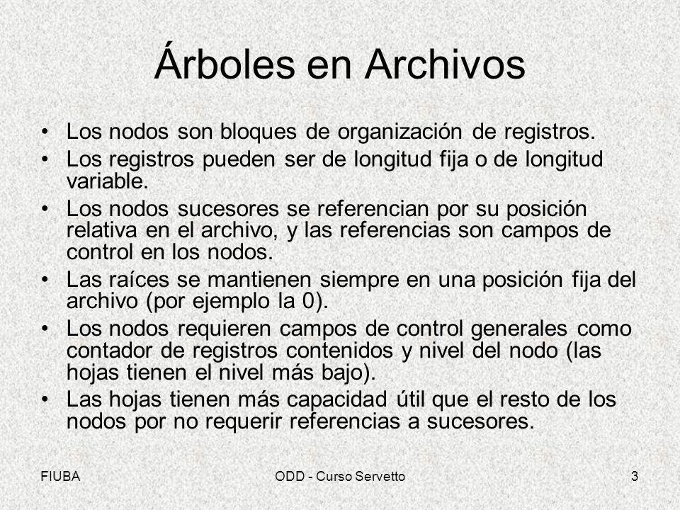FIUBAODD - Curso Servetto3 Árboles en Archivos Los nodos son bloques de organización de registros.