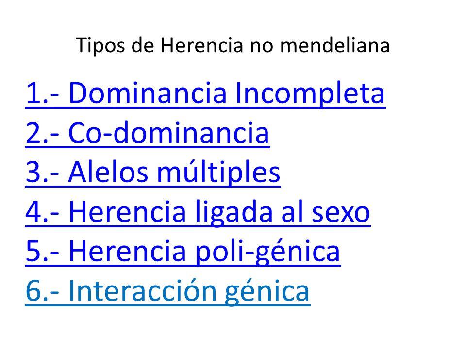 Tipos de Herencia no mendeliana 1.- Dominancia Incompleta 2.- Co-dominancia 3.- Alelos múltiples 4.- Herencia ligada al sexo 5.- Herencia poli-génica