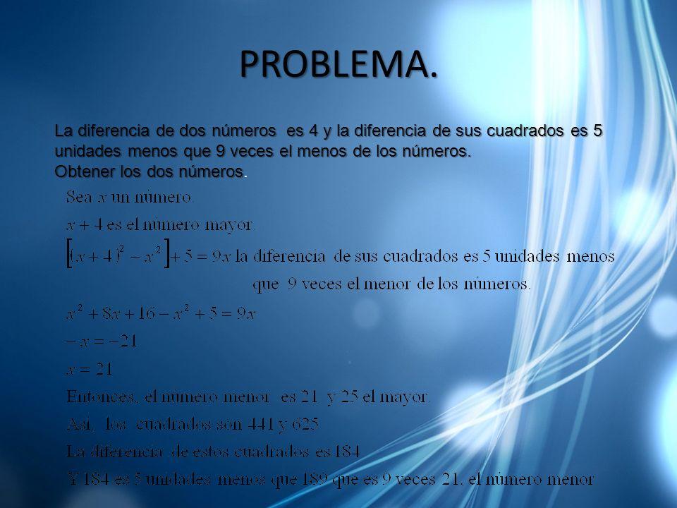 PROBLEMA. La diferencia de dos números es 4 y la diferencia de sus cuadrados es 5 unidades menos que 9 veces el menos de los números. Obtener los dos