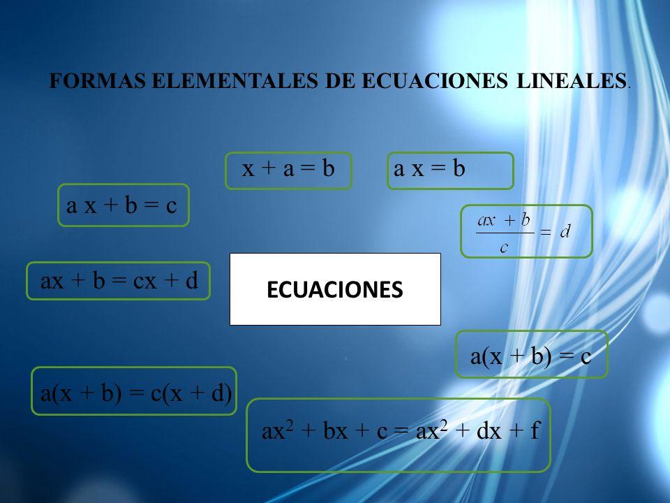 x + a = b a x = b a x + b = c ax + b = cx + d a(x + b) = c a(x + b) = c(x + d) ax 2 + bx + c = ax 2 + dx + f ECUACIONES FORMAS ELEMENTALES DE ECUACION