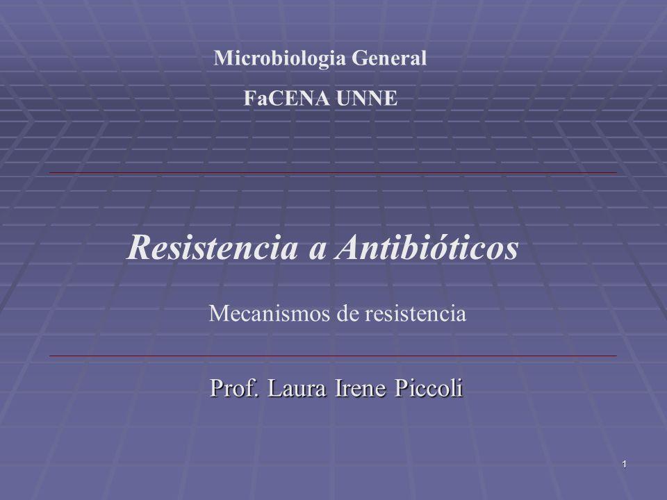 1 Mecanismos de resistencia Resistencia a Antibióticos Microbiologia General FaCENA UNNE Prof. Laura Irene Piccoli Prof. Laura Irene Piccoli