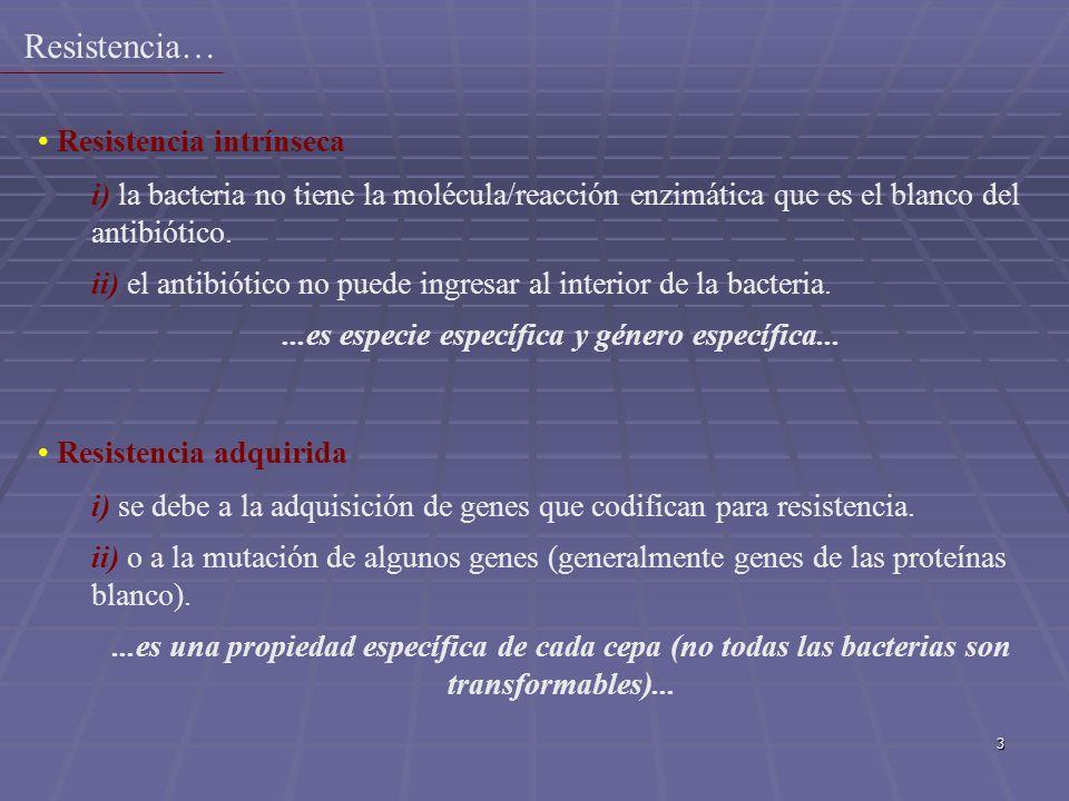 3 Resistencia intrínseca i) la bacteria no tiene la molécula/reacción enzimática que es el blanco del antibiótico. ii) el antibiótico no puede ingresa