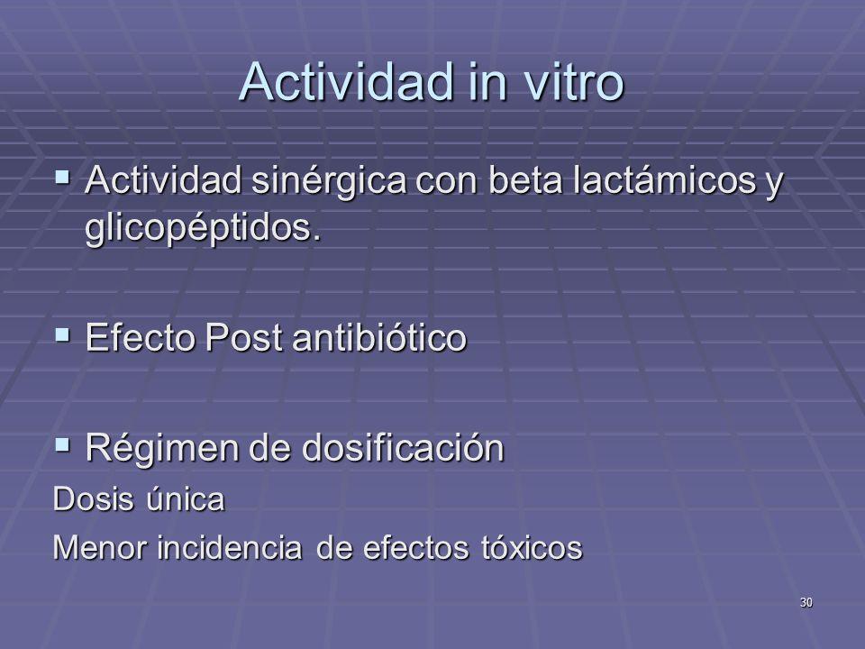 30 Actividad in vitro Actividad sinérgica con beta lactámicos y glicopéptidos. Actividad sinérgica con beta lactámicos y glicopéptidos. Efecto Post an