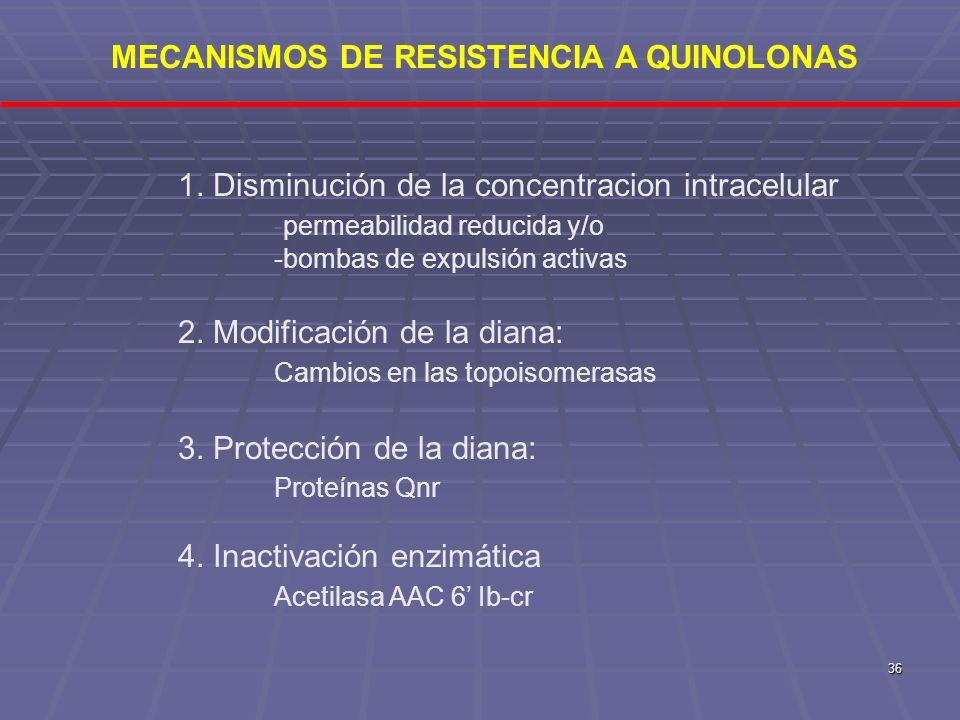 36 1. Disminución de la concentracion intracelular -permeabilidad reducida y/o -bombas de expulsión activas 2. Modificación de la diana: Cambios en la