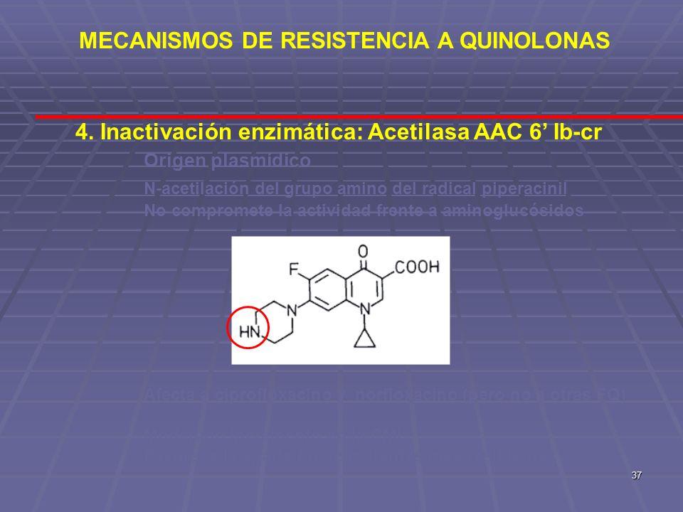 37 4. Inactivación enzimática: Acetilasa AAC 6 Ib-cr Origen plasmídico N-acetilación del grupo amino del radical piperacinil No compromete la activida