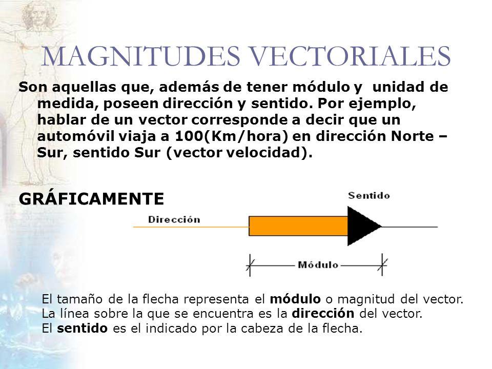 MAGNITUDES VECTORIALES Son aquellas que, además de tener módulo y unidad de medida, poseen dirección y sentido. Por ejemplo, hablar de un vector corre