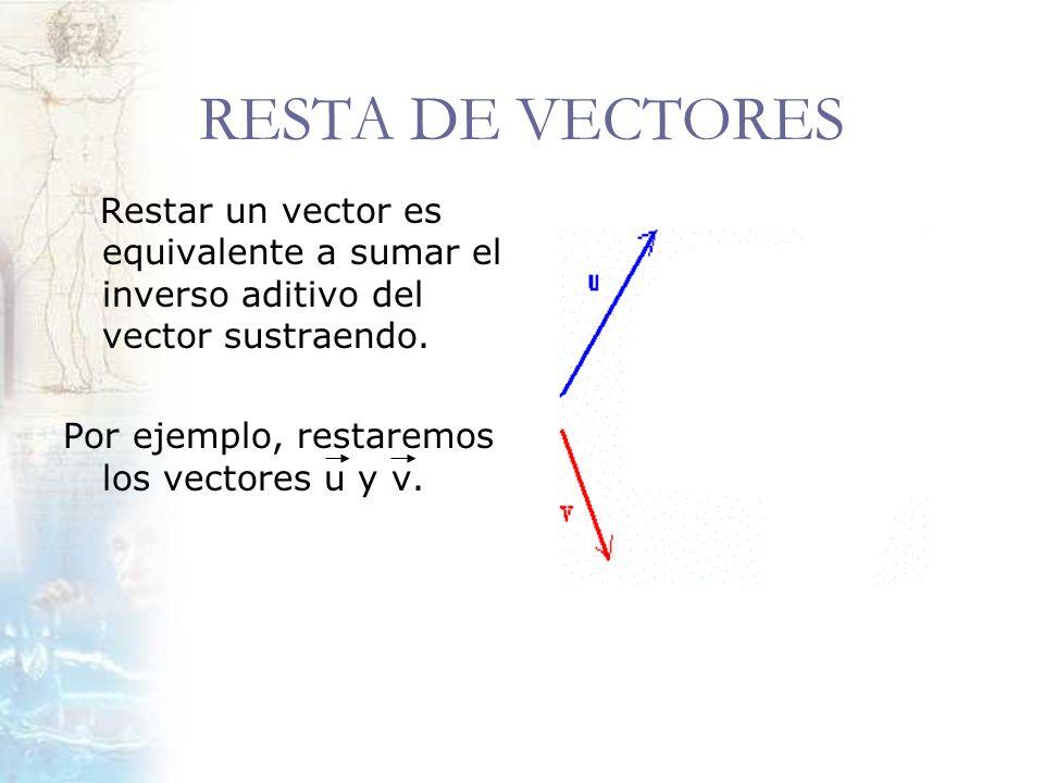 RESTA DE VECTORES Restar un vector es equivalente a sumar el inverso aditivo del vector sustraendo. Por ejemplo, restaremos los vectores u y v.