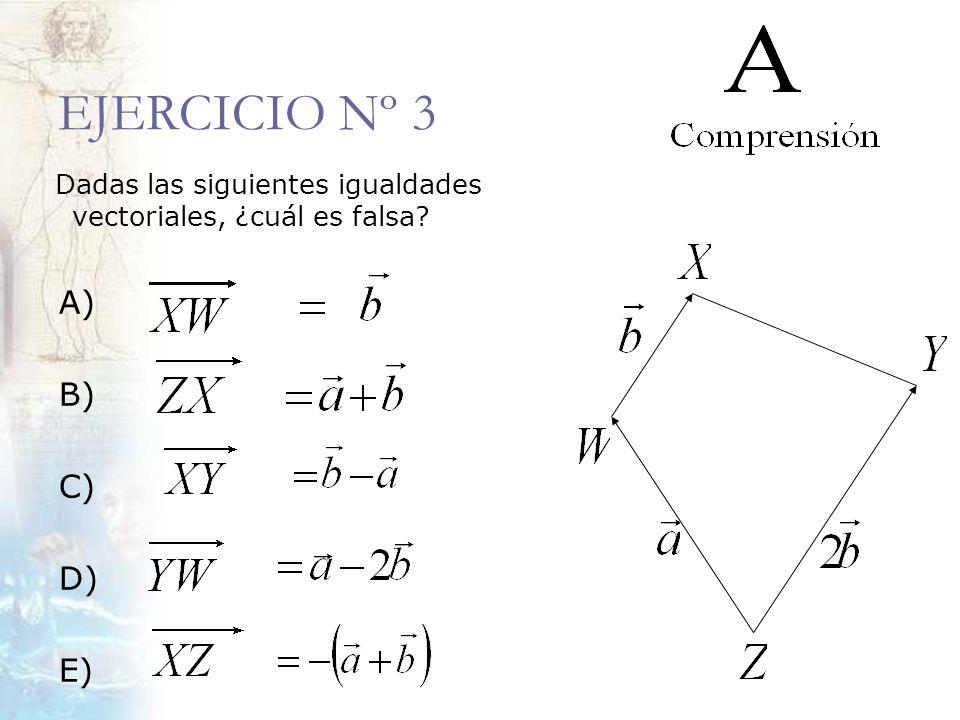 EJERCICIO Nº 3 Dadas las siguientes igualdades vectoriales, ¿cuál es falsa? A) B) C) D) E)