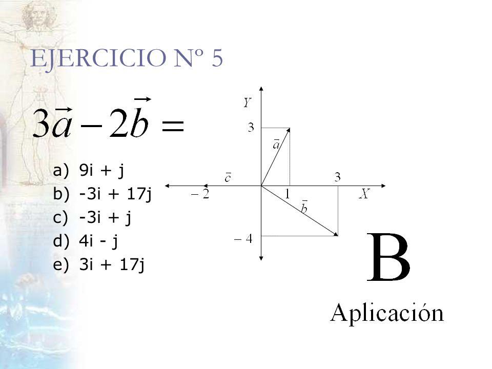 EJERCICIO Nº 5 a) 9i + j b)-3i + 17j c)-3i + j d)4i - j e)3i + 17j