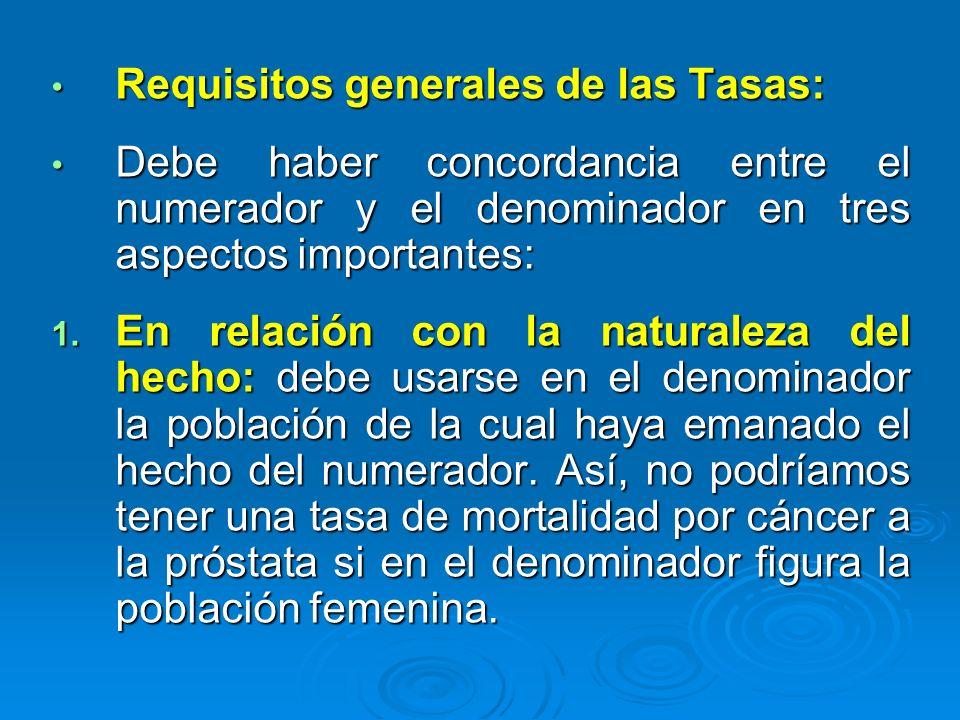 Requisitos generales de las Tasas: Requisitos generales de las Tasas: Debe haber concordancia entre el numerador y el denominador en tres aspectos imp