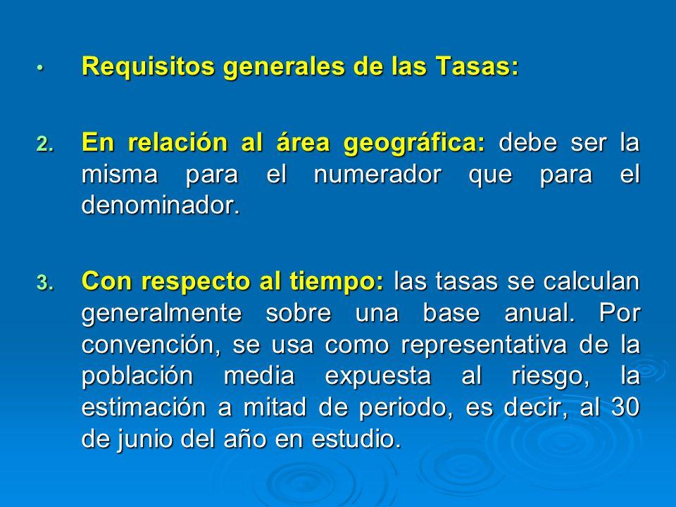 Requisitos generales de las Tasas: Requisitos generales de las Tasas: 2. En relación al área geográfica: debe ser la misma para el numerador que para