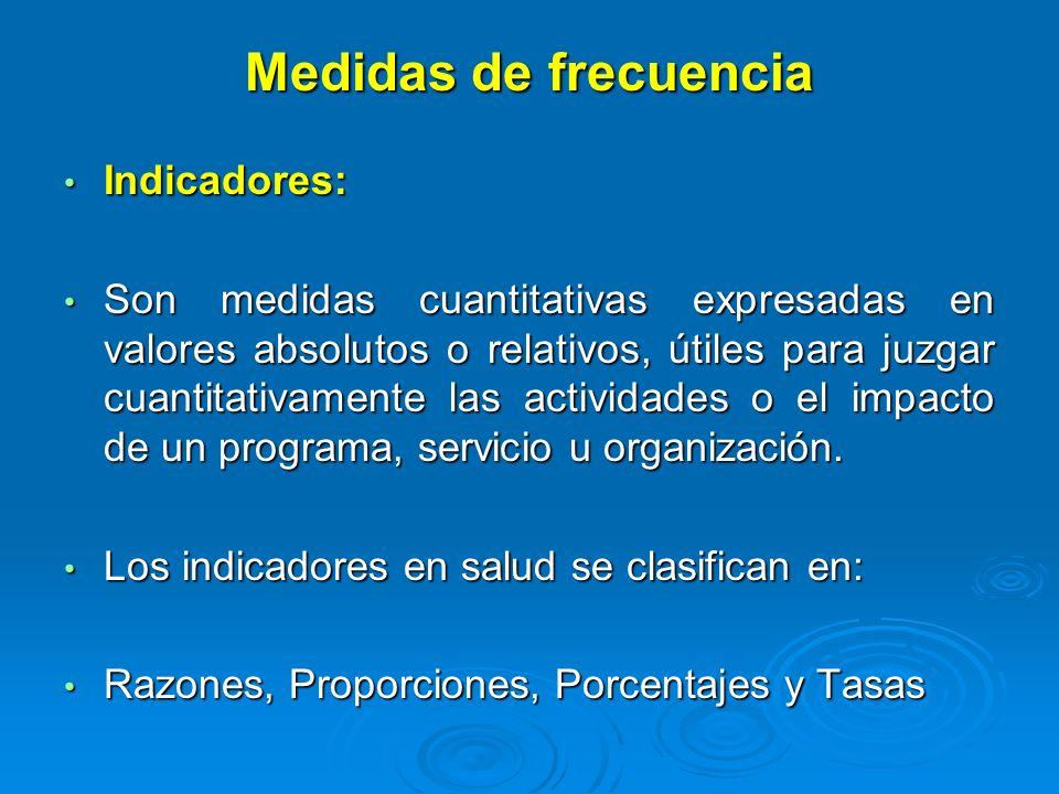Medidas de frecuencia Indicadores: Indicadores: Son medidas cuantitativas expresadas en valores absolutos o relativos, útiles para juzgar cuantitativa