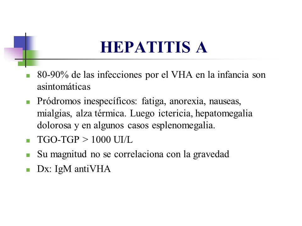 HEPATITIS A 80-90% de las infecciones por el VHA en la infancia son asintomáticas Pródromos inespecíficos: fatiga, anorexia, nauseas, mialgias, alza t