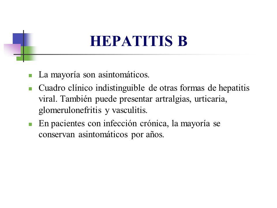 La mayoría son asintomáticos. Cuadro clínico indistinguible de otras formas de hepatitis viral. También puede presentar artralgias, urticaria, glomeru