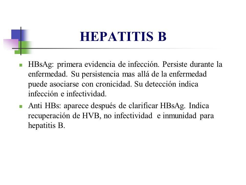 HBsAg: primera evidencia de infección. Persiste durante la enfermedad. Su persistencia mas allá de la enfermedad puede asociarse con cronicidad. Su de