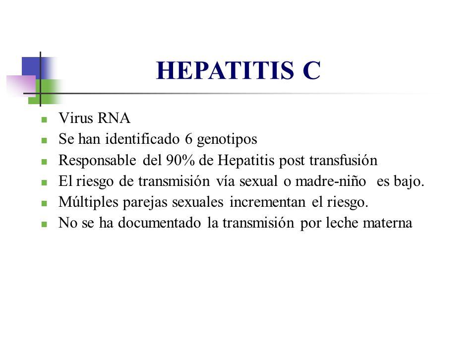 Virus RNA Se han identificado 6 genotipos Responsable del 90% de Hepatitis post transfusión El riesgo de transmisión vía sexual o madre-niño es bajo.