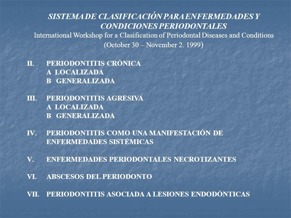 SISTEMA DE CLASIFICACIÓN PARA ENFERMEDADES Y CONDICIONES PERIODONTALES International Workshop for a Clasification of Periodontal Diseases and Conditio