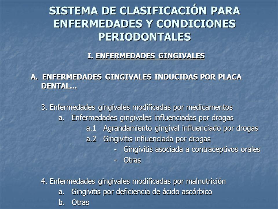 SISTEMA DE CLASIFICACIÓN PARA ENFERMEDADES Y CONDICIONES PERIODONTALES I.