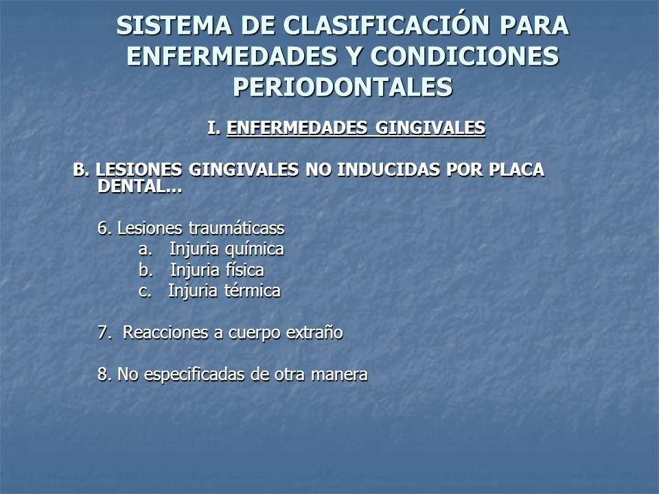 SISTEMA DE CLASIFICACIÓN PARA ENFERMEDADES Y CONDICIONES PERIODONTALES I. ENFERMEDADES GINGIVALES B. LESIONES GINGIVALES NO INDUCIDAS POR PLACA DENTAL