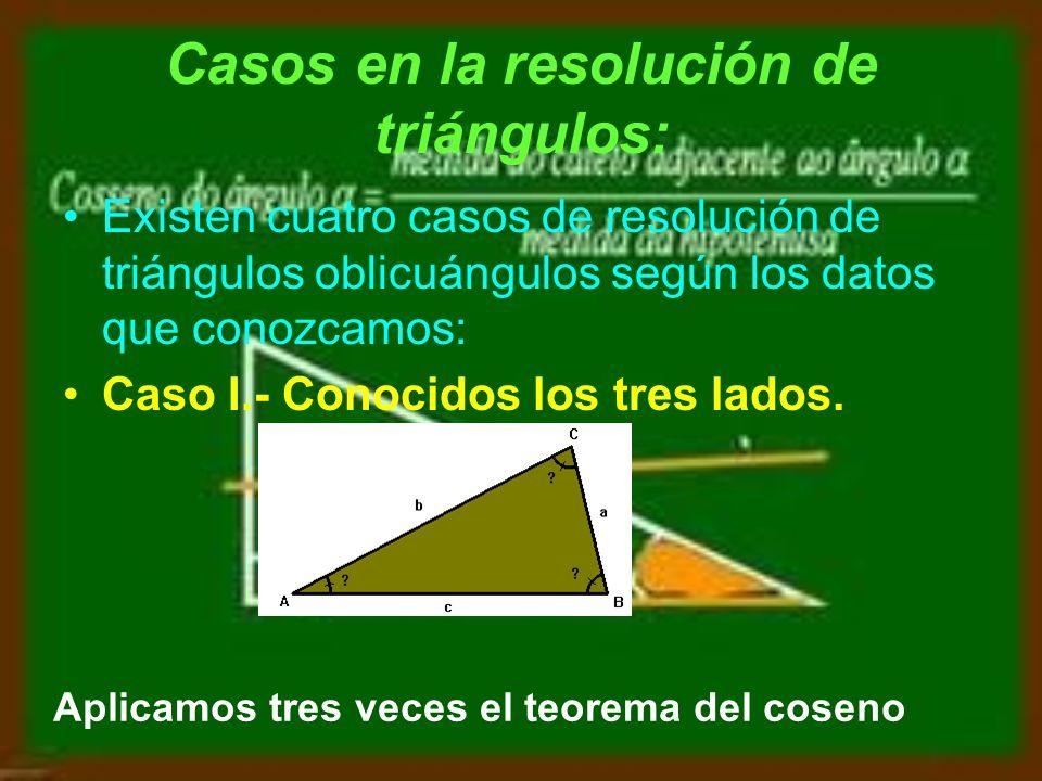 Se utilizan tres propiedades: Suma de los ángulos de un triángulo A + B + C = 180º Teorema del seno Teorema del coseno a 2 = b 2 + c 2 - 2 · b · c · Cos A b 2 = a 2 + c 2 - 2 · a · c · Cos B c 2 = a 2 + b 2 - 2 · a · b · Cos C