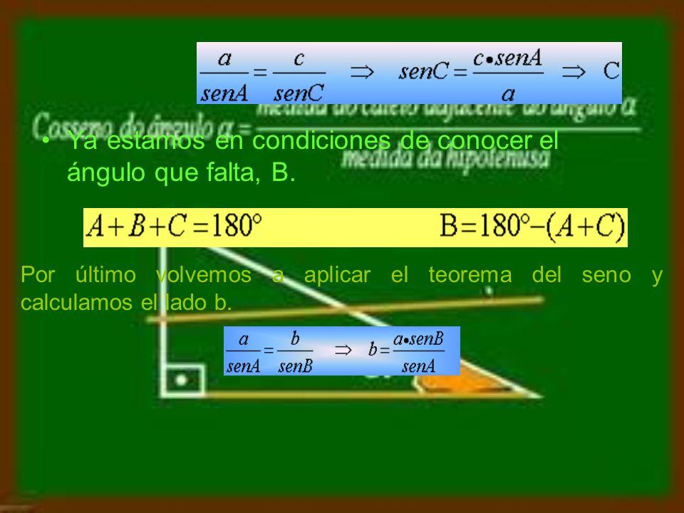 En primer lugar, se calcula fácilmente el ángulo C.