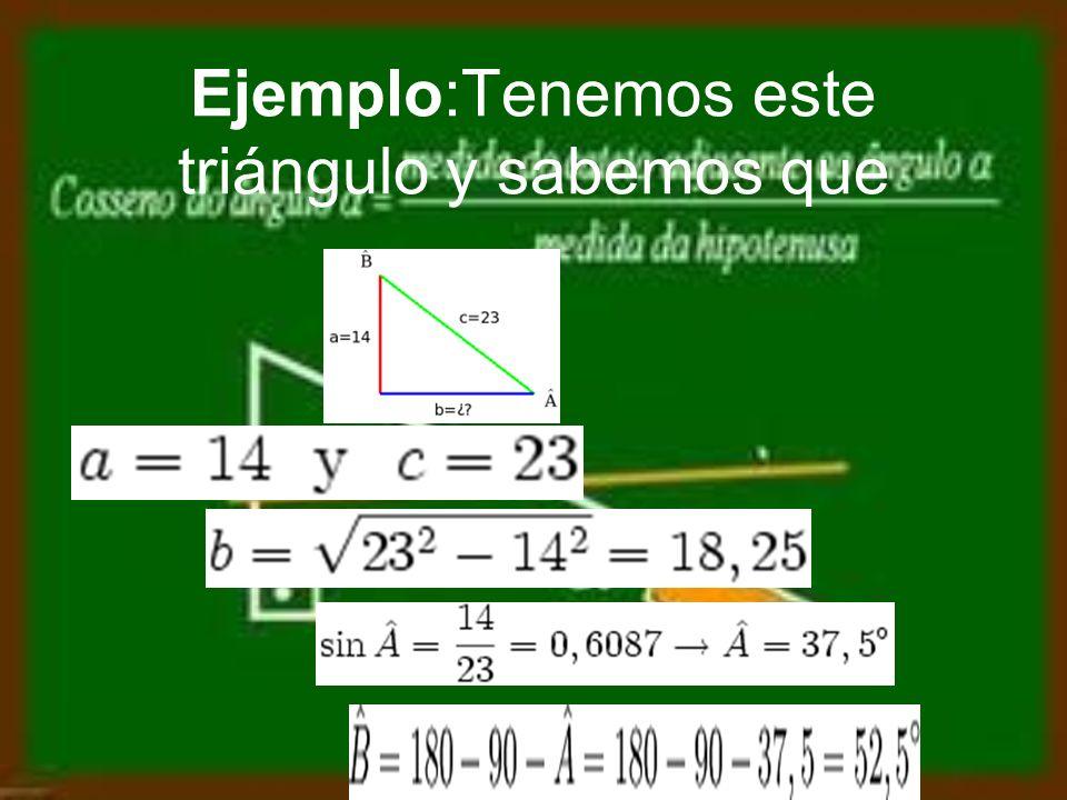 Triángulos rectángulos Si un triángulo es rectángulo en realidad ya sabemos una cosa, que tiene un ángulo de 90º, así que nos hará falta menos información para resolverlo.