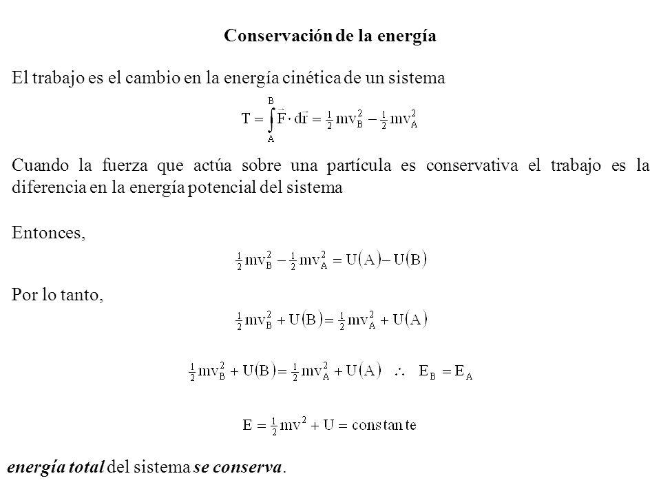 Conservación de la energía El trabajo es el cambio en la energía cinética de un sistema Cuando la fuerza que actúa sobre una partícula es conservativa