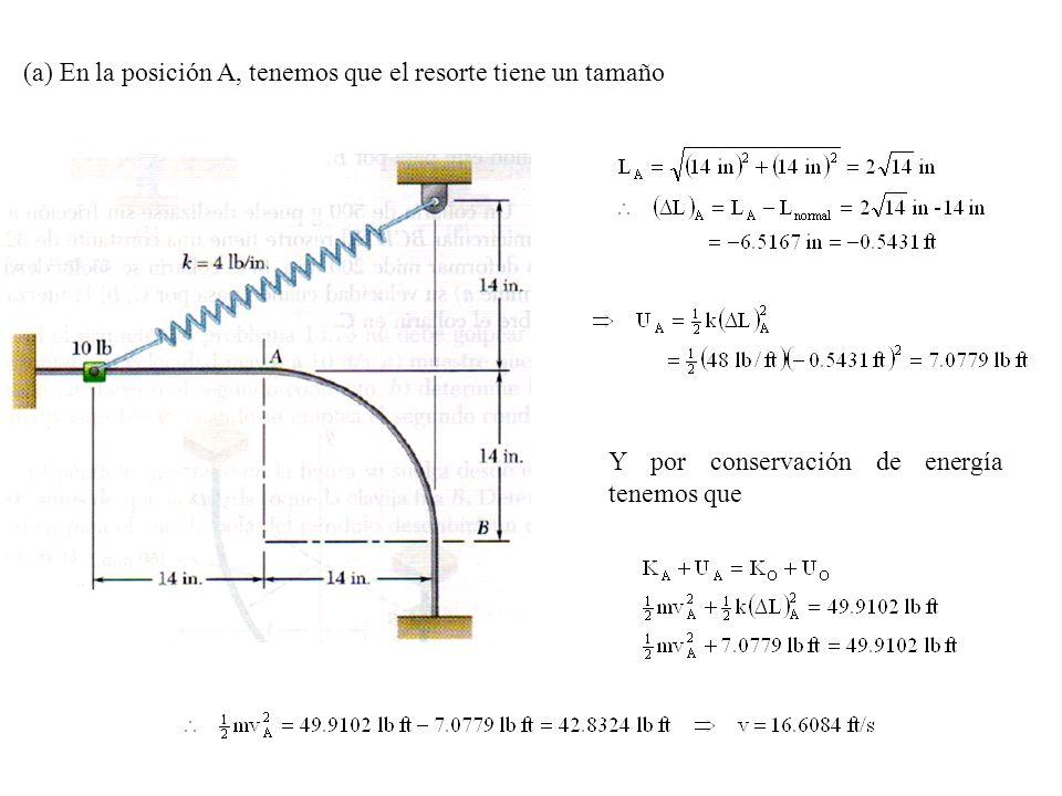 (a) En la posición A, tenemos que el resorte tiene un tamaño Y por conservación de energía tenemos que
