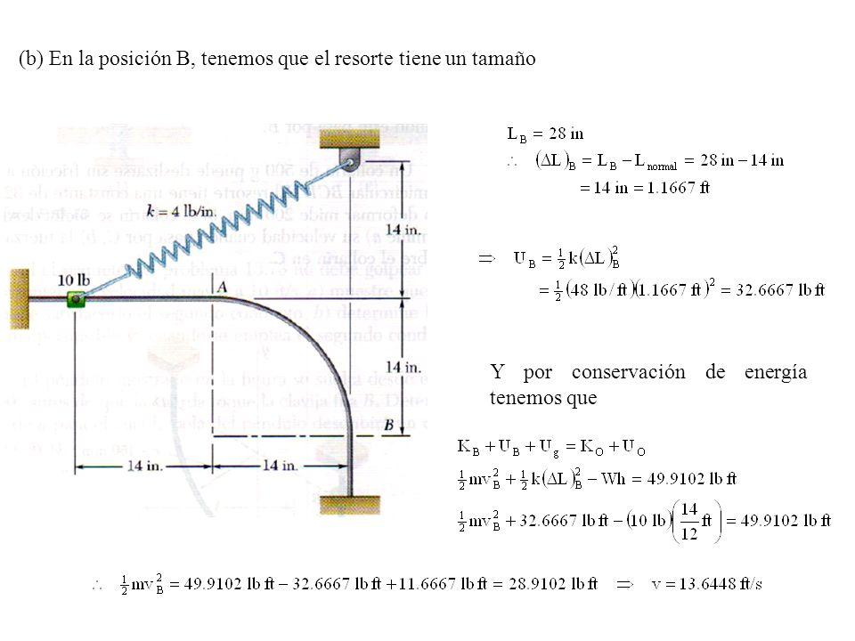(b) En la posición B, tenemos que el resorte tiene un tamaño Y por conservación de energía tenemos que