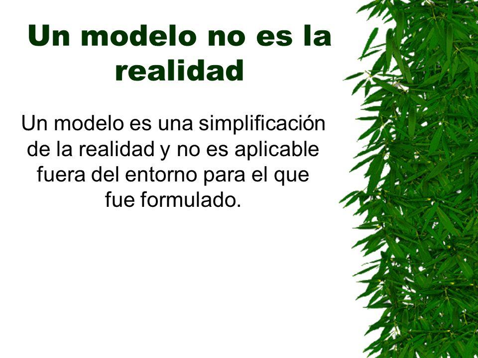 Un modelo no es la realidad Un modelo es una simplificación de la realidad y no es aplicable fuera del entorno para el que fue formulado.