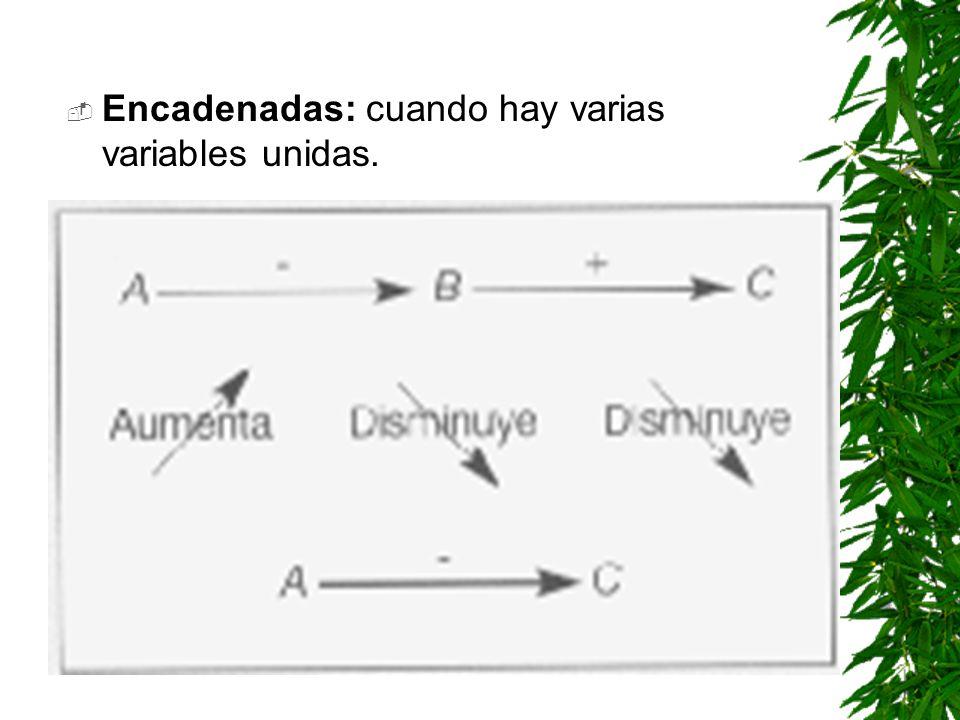 Encadenadas: cuando hay varias variables unidas.