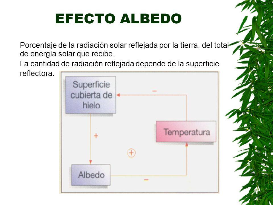 EFECTO ALBEDO Porcentaje de la radiación solar reflejada por la tierra, del total de energía solar que recibe.