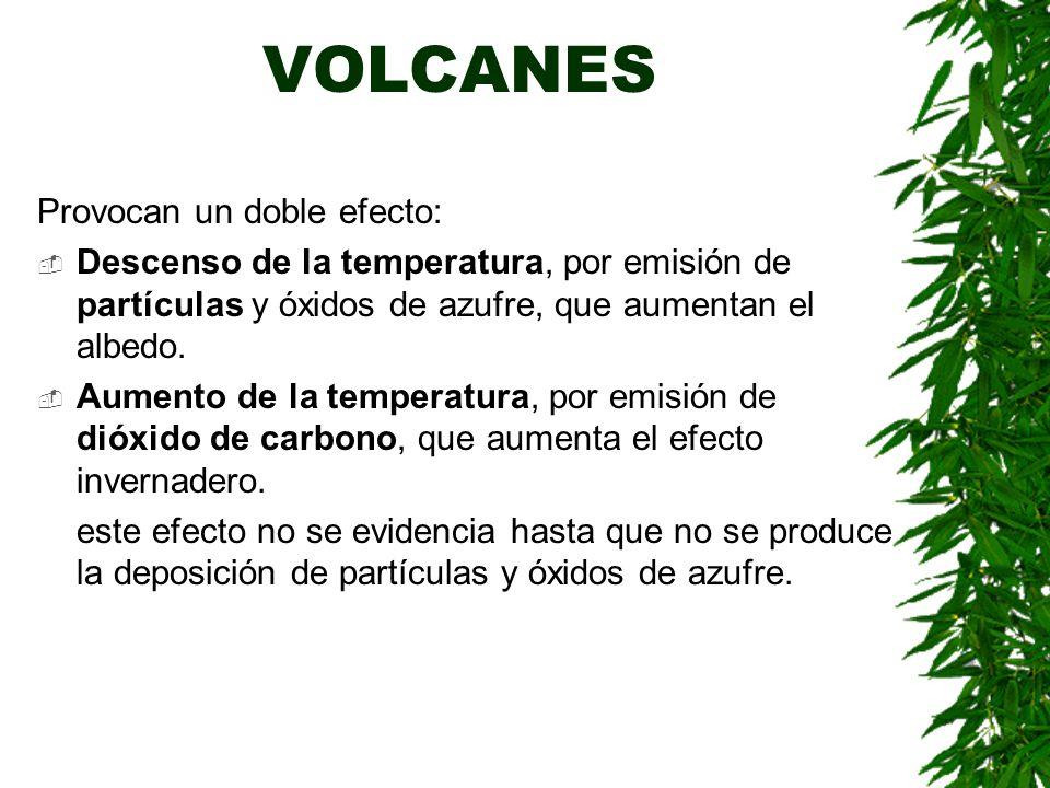 VOLCANES Provocan un doble efecto: Descenso de la temperatura, por emisión de partículas y óxidos de azufre, que aumentan el albedo.