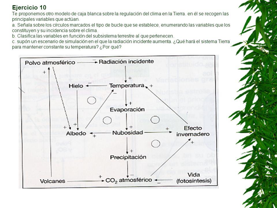 Ejercicio 10 Te proponemos otro modelo de caja blanca sobre la regulación del clima en la Tierra.