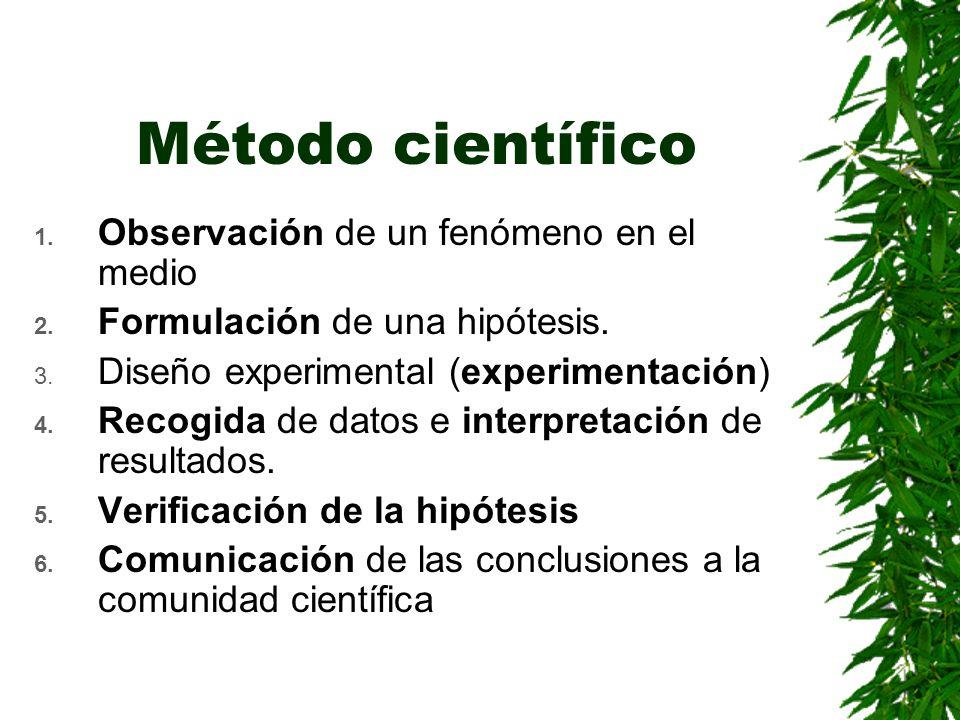 Método científico 1.Observación de un fenómeno en el medio 2.
