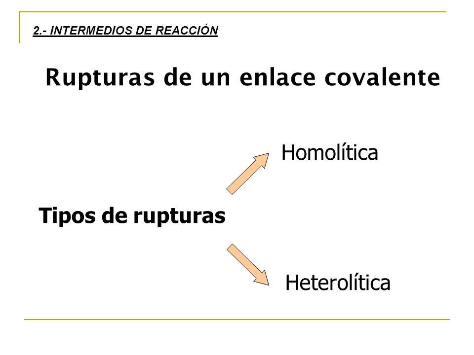 2.- INTERMEDIOS DE REACCIÓN Rupturas de un enlace covalente Tipos de rupturas Heterolítica Homolítica