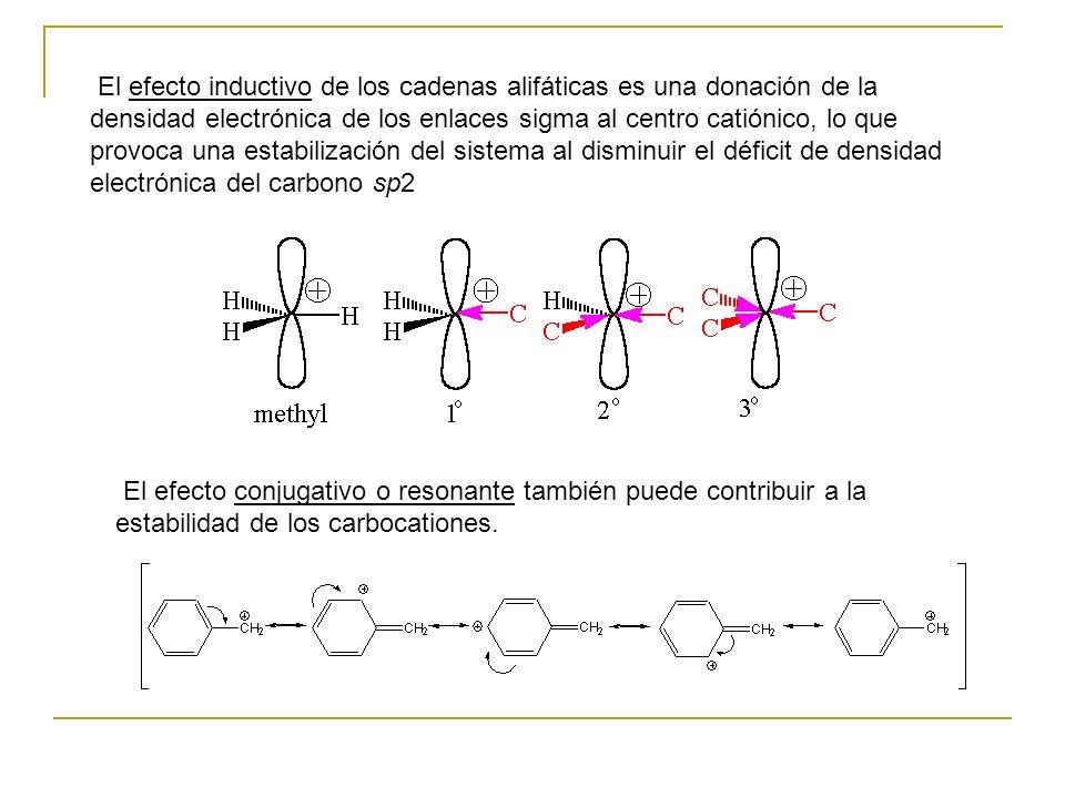 El efecto inductivo de los cadenas alifáticas es una donación de la densidad electrónica de los enlaces sigma al centro catiónico, lo que provoca una estabilización del sistema al disminuir el déficit de densidad electrónica del carbono sp2 El efecto conjugativo o resonante también puede contribuir a la estabilidad de los carbocationes.