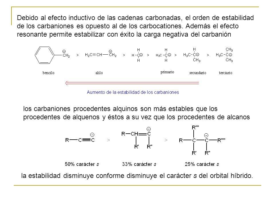 Debido al efecto inductivo de las cadenas carbonadas, el orden de estabilidad de los carbaniones es opuesto al de los carbocationes.