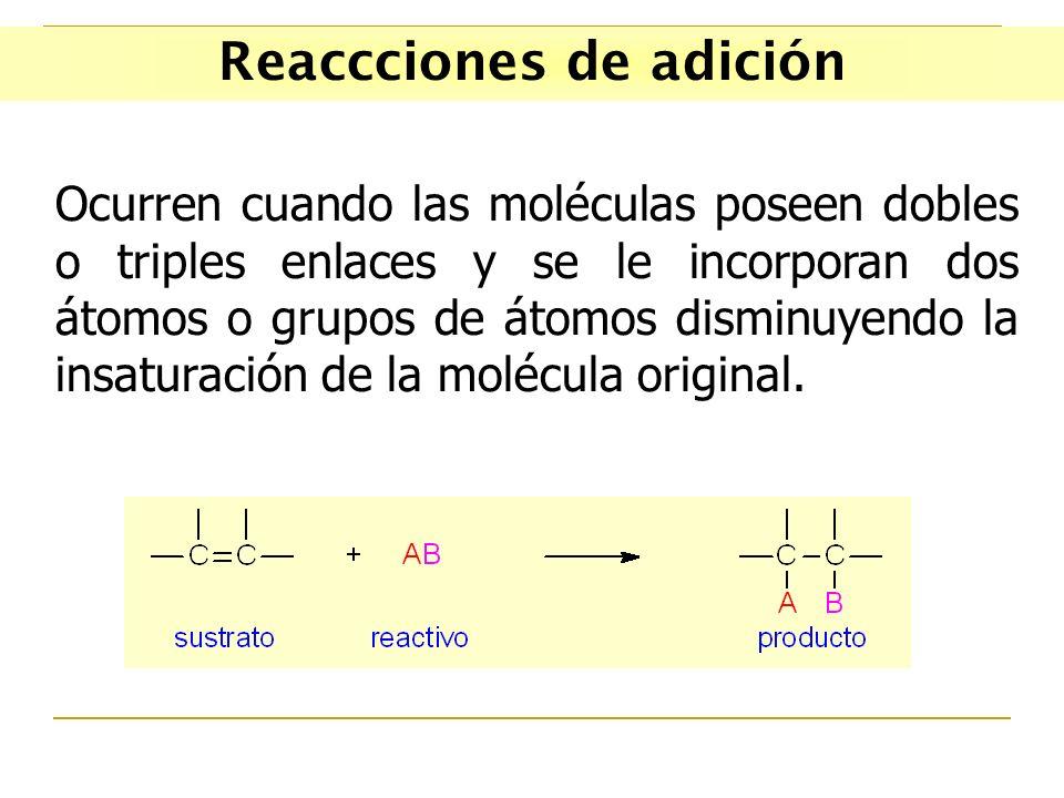 Reaccciones de adición Ocurren cuando las moléculas poseen dobles o triples enlaces y se le incorporan dos átomos o grupos de átomos disminuyendo la i