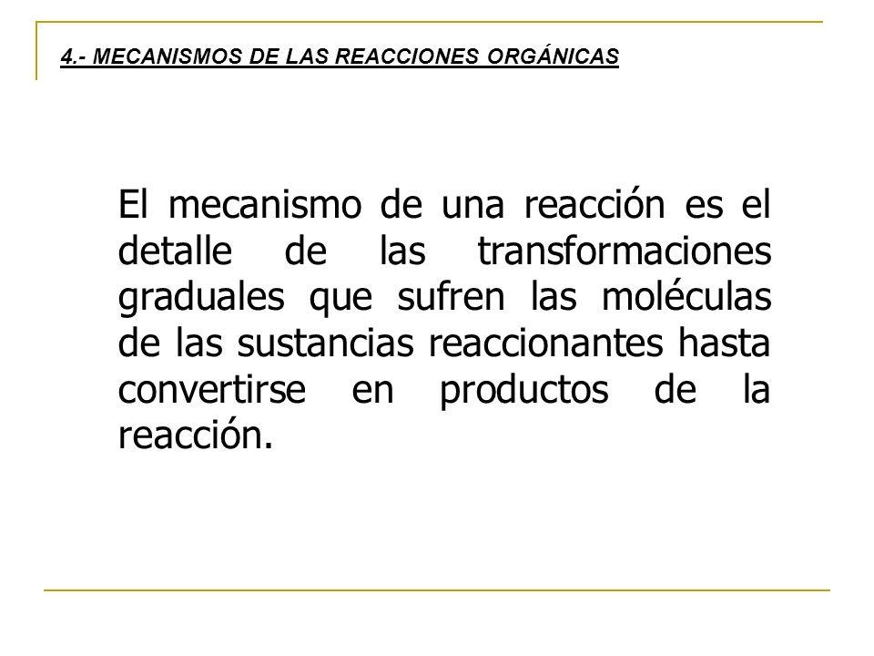 El mecanismo de una reacción es el detalle de las transformaciones graduales que sufren las moléculas de las sustancias reaccionantes hasta convertirse en productos de la reacción.