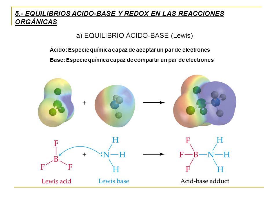 5.- EQUILIBRIOS ACIDO-BASE Y REDOX EN LAS REACCIONES ORGÁNICAS a) EQUILIBRIO ÁCIDO-BASE (Lewis) Ácido: Especie química capaz de aceptar un par de electrones Base: Especie química capaz de compartir un par de electrones