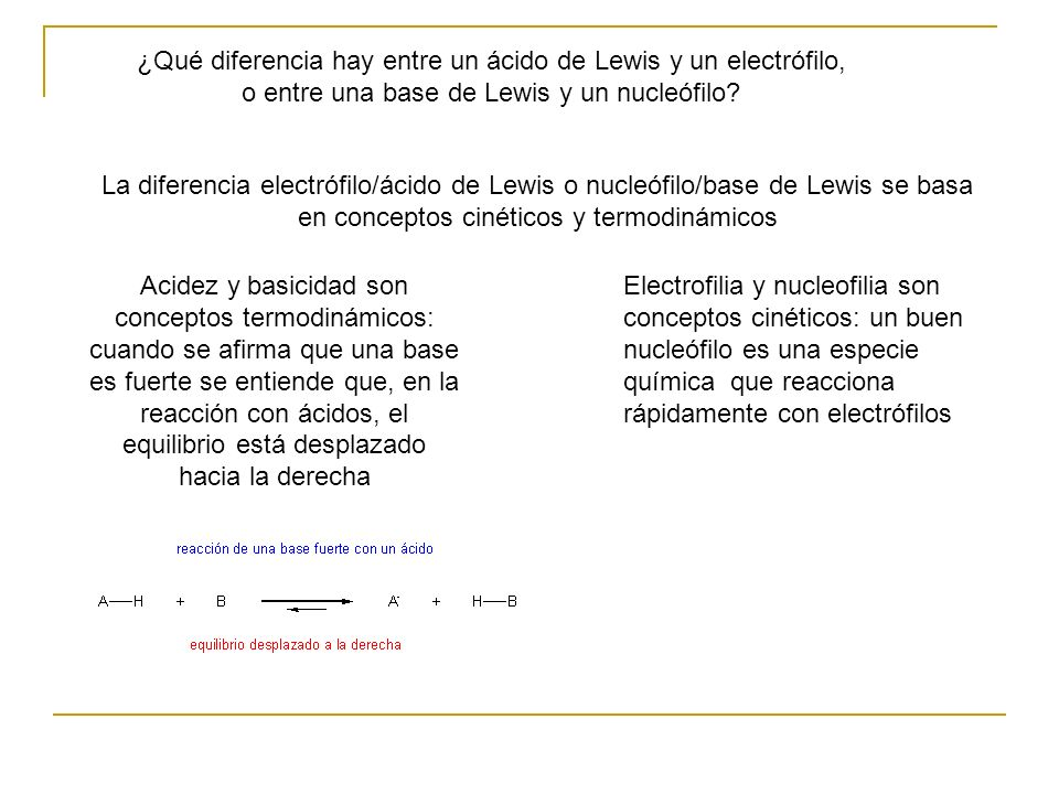 ¿Qué diferencia hay entre un ácido de Lewis y un electrófilo, o entre una base de Lewis y un nucleófilo? La diferencia electrófilo/ácido de Lewis o nu