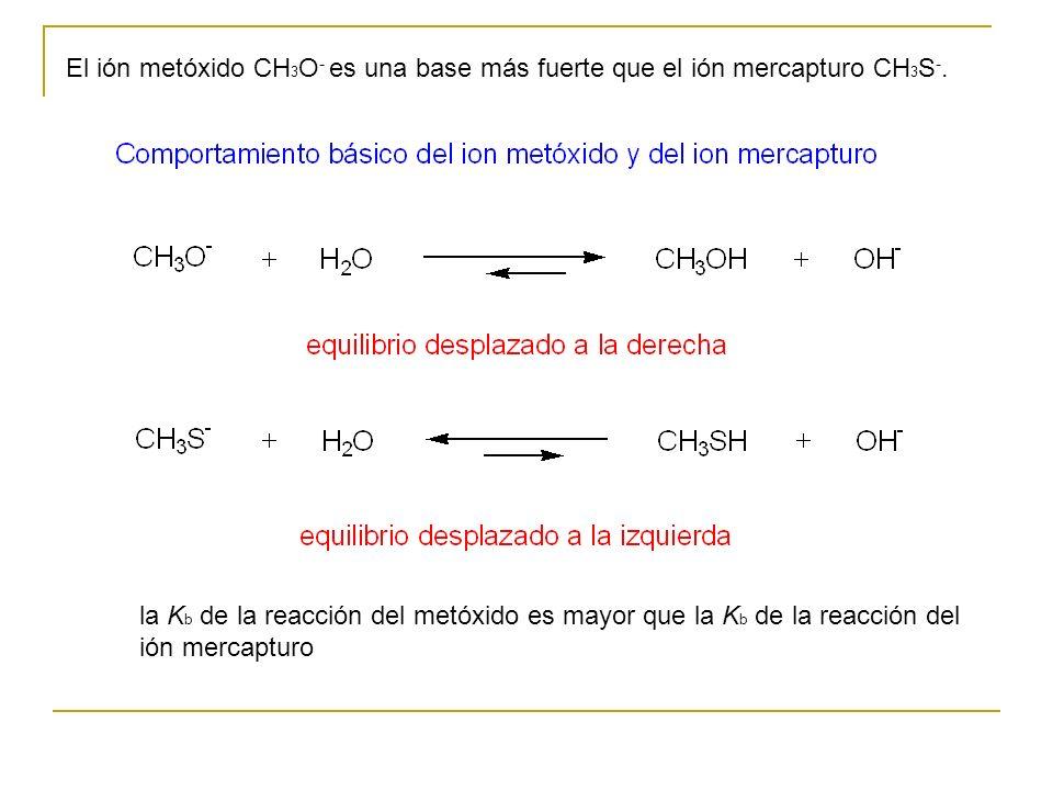 El ión metóxido CH 3 O - es una base más fuerte que el ión mercapturo CH 3 S -. la K b de la reacción del metóxido es mayor que la K b de la reacción