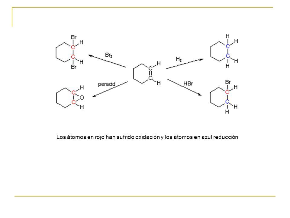 Los átomos en rojo han sufrido oxidación y los átomos en azul reducción