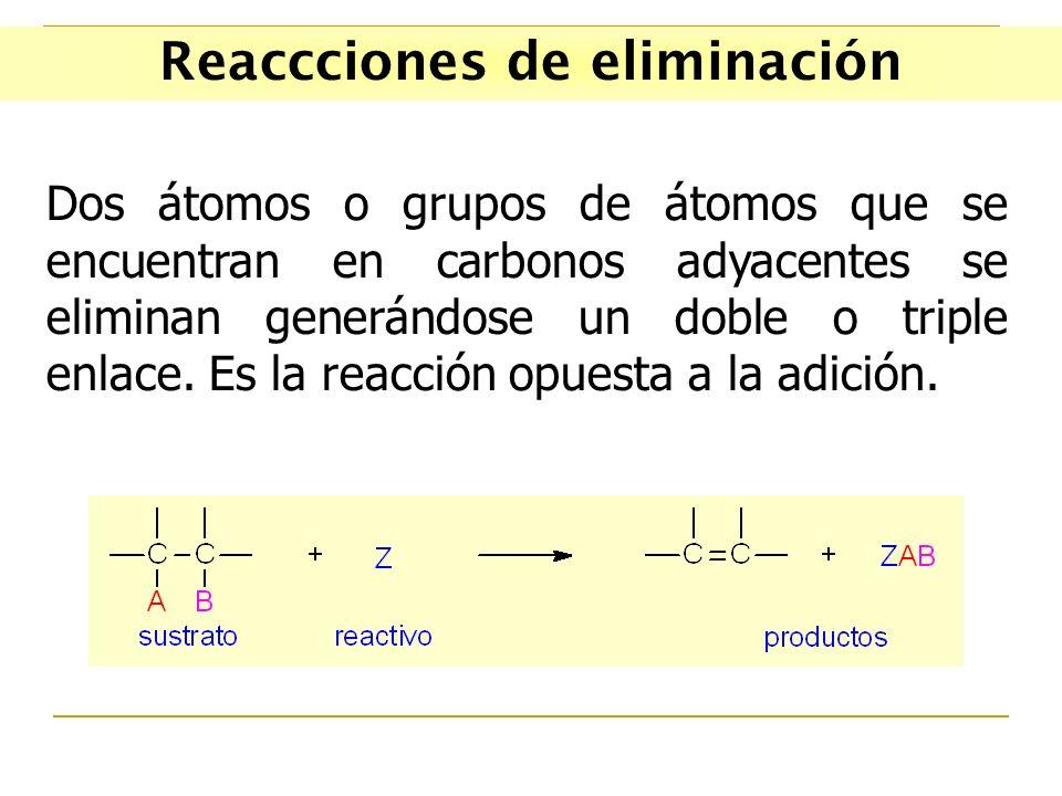 Reaccciones de eliminación Dos átomos o grupos de átomos que se encuentran en carbonos adyacentes se eliminan generándose un doble o triple enlace. Es
