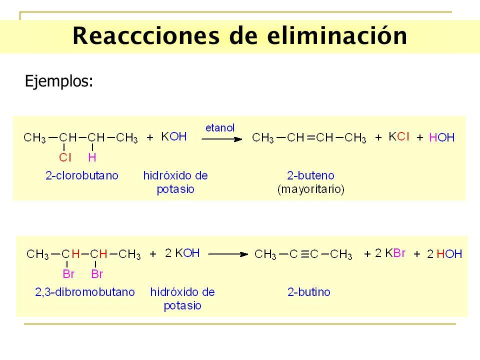 Reaccciones de eliminación Ejemplos: